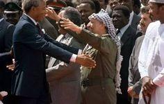Nelson Mandela L Warmly Greets Palestine Liberation Organization Plo Chairman Yasser Arafat On His Nelson Mandela Mandela Palestine Liberation Organization
