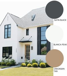 Modern Farmhouse Style Exterior Paint Colors - - Paint your home's exterior with confidance with these modern farmhouse exterior paint color combinations. Perfect for new build construction or renovations! White Exterior Paint, White Exterior Houses, Exterior Paint Colors For House, Dream House Exterior, Outside House Paint Colors, Exterior Color Schemes, Exterior Design, Farmhouse Architecture, Modern Farmhouse Exterior