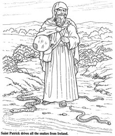 St. Patrick coloring page from Dover Publications