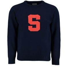 Classic Preppy Vintage Style Navy Blue Crew Neck Syracuse University Varsity Block S Letterman Sweater by Hillflint #PreppySyracuse