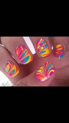 If you want to know how to make this go to how to make this kind if nail polish or how to make bumble bee nail polish ones you watched it you will know how to make this You can also search  how to make cool kinds of nail polish then click on summer nail art tutorial! Neon sunburst