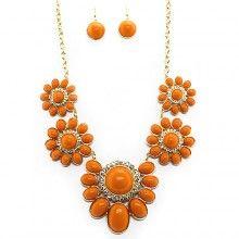 Burnt Orange Gemstone Statement Necklace $25.00 www.longhornfashions.com
