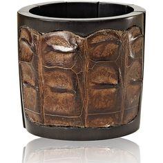 Nada Sawaya J35 - Crocodile Stretch Cuff - Brown ($271) ❤ liked on Polyvore featuring jewelry, bracelets, brown, hand crafted jewelry, cuff jewelry, brown jewelry, nada sawaya and crocodile jewelry