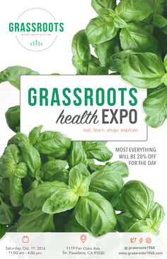 We'll have food, free product samples, vendors, raffle prizes, face painting, henna, a photo booth, live music, discounts and tons of fun. The event will be held in the parking lot directly in front of Grassroots. The purpose of this event is to showcase the health food industries' finest products, holistic practitioners and sustainable businesses while connecting them with our customers and the health conscious community of the Greater Los Angeles Area.