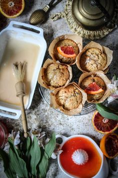 blood orange poppy seed muffins with earl grey tea glaze