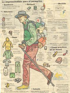 Lo esencial para un peregrino - Load Tutorial and Ideas Camping Survival, Outdoor Survival, Survival Skills, Hiking Tips, Hiking Gear, The Camino, Camino Walk, Pilgrimage, Backpacking
