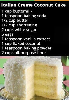 Italian Creme Coconut Cake -- Rachel you're in charge. Cupcake Recipes, Cupcake Cakes, Dessert Recipes, Frosting Recipes, Coconut Recipes, Baking Recipes, Coconut Cakes, Coconut Cake Easy, Coconut Desserts