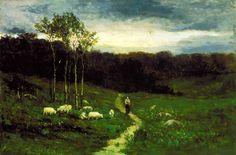 Woman Walking down Path, Edward Mitchell Bannister, 1882