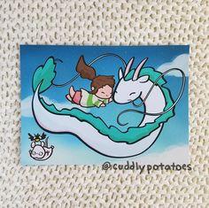 Chihiro and Haku - Art Print Studio Ghibli Art, Studio Ghibli Movies, Personajes Studio Ghibli, Chihiro Y Haku, Anime City, Doodle Art Drawing, Deep Art, Arte Sketchbook, Mini Canvas Art