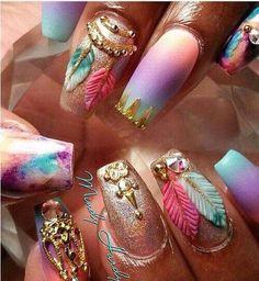 @evatornado bold pastel tribal nail art