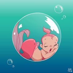 Baby mermaid in a bubble sleeping. Baby mermaid in a bubble sleeping. Fantasy Mermaids, Real Mermaids, Mermaids And Mermen, Baby Mermaid, Mermaid Art, The Little Mermaid, Vintage Mermaid, Mermaid Tails, Mermaid Drawings