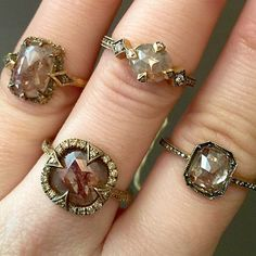 Alternative rustic diamond solitaire engagement rings by Cathy Waterman.