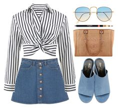 """MULES"" by ariayoungg ❤ liked on Polyvore featuring Monki, T By Alexander Wang, Robert Clergerie and Chanel"