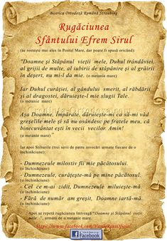 Rugaciunea Sfantului Efrem Sirul - se rosteşte mai ales în Postul Mare, dar poate fi spusă oricând: Orthodox Easter, Prayer Board, God Loves Me, Tai Chi, Gods Love, Cool Words, My Life, Prayers, Faith