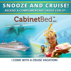 Buy a cabinet bed and receive a complimentary 4 Day / 3 Night cruise for 2 people in one stateroom! All the details of this incredible… Modern Murphy Beds, Bed Wall, Cruise Vacation, Did You Know, Knowing You, How To Apply, The Incredibles, Cabinet, Night