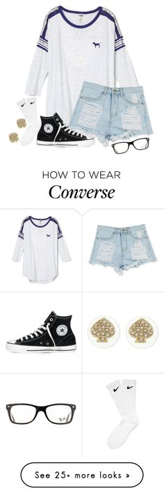"""Keep it simple"" by chellylovesyew on Polyvore featuring Converse, NIKE, Kate Spade and Ray-Ban"