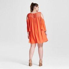 Women's Plus Size Cold Shoulder Chiffon Dress Coral 1X - 3Hearts, Pink