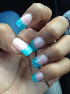 Glitter solar nails with blue tip polish nails pinterest blue tip solar nails 3 prinsesfo Choice Image