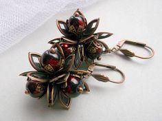 Dark red flower dangle red flower earrings copper flower