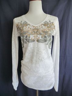 NEW CABI WHITE COTTON BLEND FLORAL PRINT RUCHED SIDES LONG SLEEVE TEE/TOP LARGE #CAbi #KnitTop #Casual