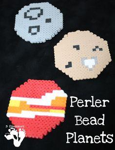Fine Motor Perler Bead Planets - fun fine motor space craft for kids to make - 3Dinosaurs.com