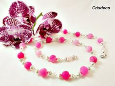 Long fuchsia pink agate necklace elegant  frosted by Crisdeco