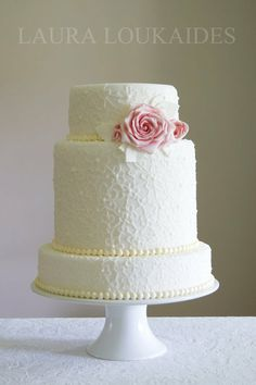 """""""Sweet Boutique"""" Wedding Cake. ~ three lace inspired tiers complete with ivory pearls and dusty pink Roses ~ all edible and gorg!"""
