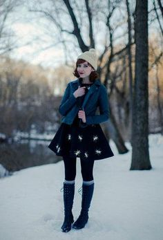 Love these outfit. The tall boots the dress the jacket its all super cute.