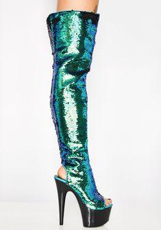 0520f67e796c Sequin Platform Peep Toe Thigh High Heels