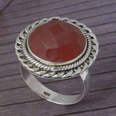 RED ONYX CHAKER CUT 925 STERLING SILVER RING JEWELLERY 7.43g DJR3792 #Handmade #Ring