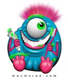 This is Jack the happy purple monster brushing his teeth. He brushes his teeth 4 times a day. Green Monsters, Little Monsters, Monster Under The Bed, Monster Coloring Pages, Funny Monsters, Funny Fathers Day Card, Painted Rocks Craft, Clay Art Projects, Beautiful Bugs
