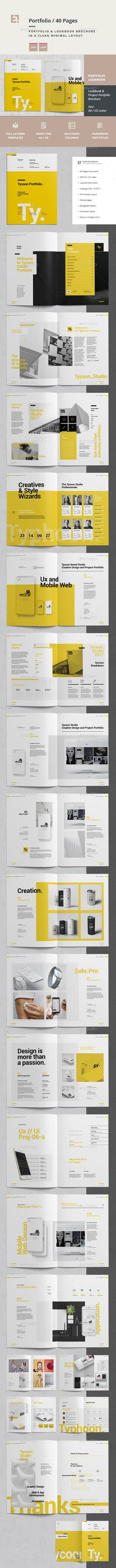 Project and Design Portfolio Brochure Template InDesign INDD - 36 Pages, A4 and US Letter Size