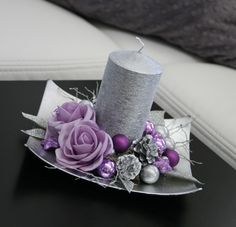 Vánoční svícínek - fialovostříbrný / Zboží prodejce jircice | Fler.cz Purple Christmas Decorations, Purple Christmas Tree, Christmas Candles, Christmas Centerpieces, Christmas Home, Christmas Wreaths, Christmas Crafts, Christmas Ornaments, Coastal Christmas