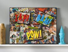Comic book craft: DIY superhero canvas. Great DIY for your child's bedroom wall. from: modpodgerocksblog.com
