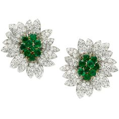 Van Cleef & Arpels Diamond and emerald earrings | From a unique collection of vintage clip-on earrings at http://www.1stdibs.com/jewelry/earrings/clip-on-earrings/
