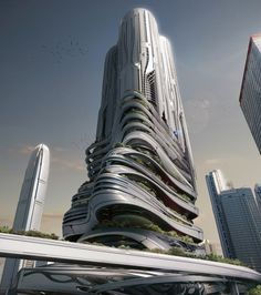 eVolo 2014 Skyscraper Competition winners-Honorable Mention - PieXus Tower: Maritime Transportation Hub Skyscraper For Hong Kong by Chris Thackrey, Steven Ma, Bao An Nguyen Phuoc, Ch. Futuristic City, Futuristic Architecture, Amazing Architecture, Contemporary Architecture, Interior Architecture, Flying Architecture, Chinese Architecture, Interior Modern, Landscape Architecture