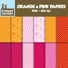 A collection of orange and pink digital papers in a variety of patterns that can be used for backgrounds and a variety of other purposes. This pack...