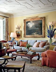I adore this family room by Michael S. The blue and red fabrics against the yellow walls are fabulous. Formal Living Rooms, My Living Room, Home And Living, Living Room Decor, Living Spaces, Cottage Living, Cozy Living, Bedroom Decor, English Country Decor