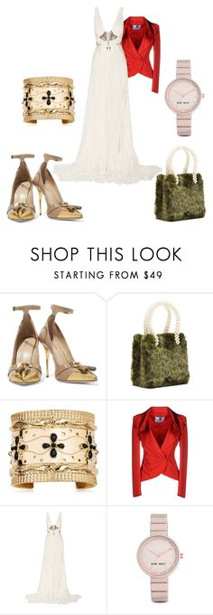 """The Ideal Girlfriend"" by black-wings ❤ liked on Polyvore featuring Balmain, Shrimps, Aurélie Bidermann, Blumarine, Roberto Cavalli and Nine West"