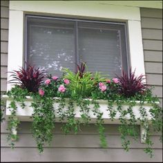 Most Simple Tips: Artificial Plants Outdoor Patio small artificial plants decor.Artificial Plants Tips. Window Box Plants, Window Box Flowers, Window Planter Boxes, Fake Flowers, Planter Ideas, Flower Boxes, Silk Flowers, Outdoor Flowers, Outdoor Planters