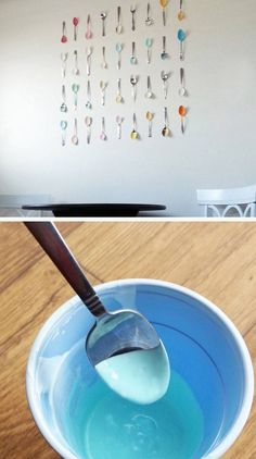 Painted Spoon Kitchen Wall Art | Click Pic for 28 DIY Kitchen Decorating Ideas on a Budget | DIY Home Decorating on a Budget