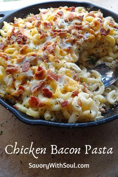 This chicken and bacon pasta bake includes tender chicken breast, lots of smoky bacon bits, lots of cheese, and of course pasta to make it all complete. bake Chicken and Bacon Pasta Bake - Savory With Soul Crock Pot Recipes, Cheesy Recipes, Easy Pasta Recipes, Cooking Recipes, Pasta Ideas, Dip Recipes, Chicken And Bacon Pasta Bake, Baked Chicken, Stuffed Chicken