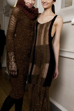 Influenced by the heyday of luxurious travel in the 1950s for Autumn Winter 2012, Craig Lawrence's collection of signature knitwear featured experimental textures and floor-skimming Swarovski Yarn dresses, each vividly encased in rich sepia tones and metallics.