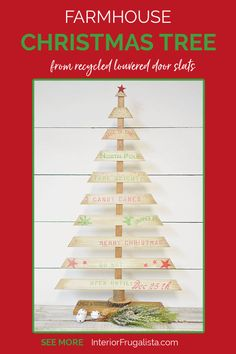 A Rustic DIY Tabletop Christmas Tree with Farmhouse Style by Interior Frugalista made with recycled louvered bifold door wooden slats and a festive crate style stencil. A budget holiday decorating idea for indoors or outdoors.#diychristmastree #festivetabletoptree #festivechristmasideas Pallet Christmas Tree, Tabletop Christmas Tree, Rustic Christmas, Christmas Crafts, Christmas Trees, Christmas Sewing, Christmas Projects, Budget Holiday, Outside Christmas Decorations