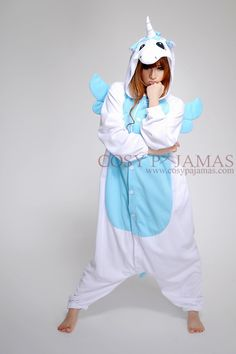 Polyester Blue Unicorn Onesie Kigurumi