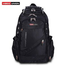 97cd12c6b1 MAGIC UNION Brand Design Men s Travel Bag Man Swiss Backpack Polyester Bags  Waterproof Anti Theft Backpack Laptop Backpacks Men