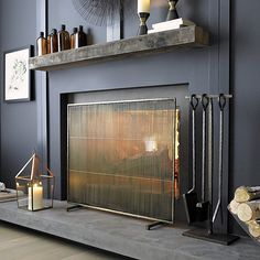Create a beautiful, safe room with fireplace screens from Crate and Barrel. Browse fireplace tools and accessories including log holders and candelabras.