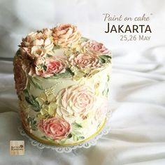 Paint on cake In Jakarta , May Vintage roses paint on cake. You will learn how to paint with knife palette ,How to… Gorgeous Cakes, Pretty Cakes, Cute Cakes, Amazing Cakes, Bolo Floral, Floral Cake, Mini Cakes, Cupcake Cakes, Painted Cakes