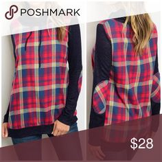 "🆕 Red/Blue plaid pullover 🎀BUNDLE AND SAVE WITH OVER 100 STYLES TO CHOOSE FROM🎀 Just in!! Adorable!! Red and blue plaid pullover top. Drawstring collar. 100% cotton. Made in the USA.  28"" long. Relaxed fit. SMALL: 19"" pit to pit. MEDIUM: 20"" pit to pit. LARGE: 21"" pit to pit. CupofTea Tops Tees - Long Sleeve"