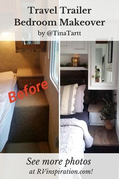 Photos before and after an RV renovation with Farmhouse style decor Travel Trailer Remodel, Travel Trailer Camping, Travel Trailers, Travel Trailer Living, Travel Trailer Organization, Trailer Storage, Camper Storage, Camping Organization, Rv Travel